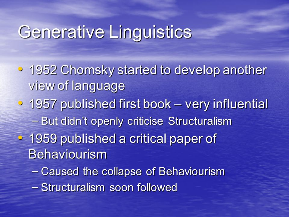 the two main theories on linguistic knowledge The origin of language (by edward vajda) yesterday we discussed the gulf that separates the creative use of language by humans from the inborn signals of animals bees returning from their first flight out of the hive know perfectly how to perform their complex nectar dances.