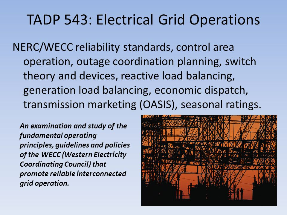TADP 543: Electrical Grid Operations