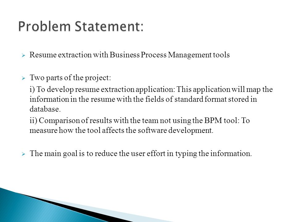 Resume Extraction with Business Process Management (BPM) tools - ppt ...