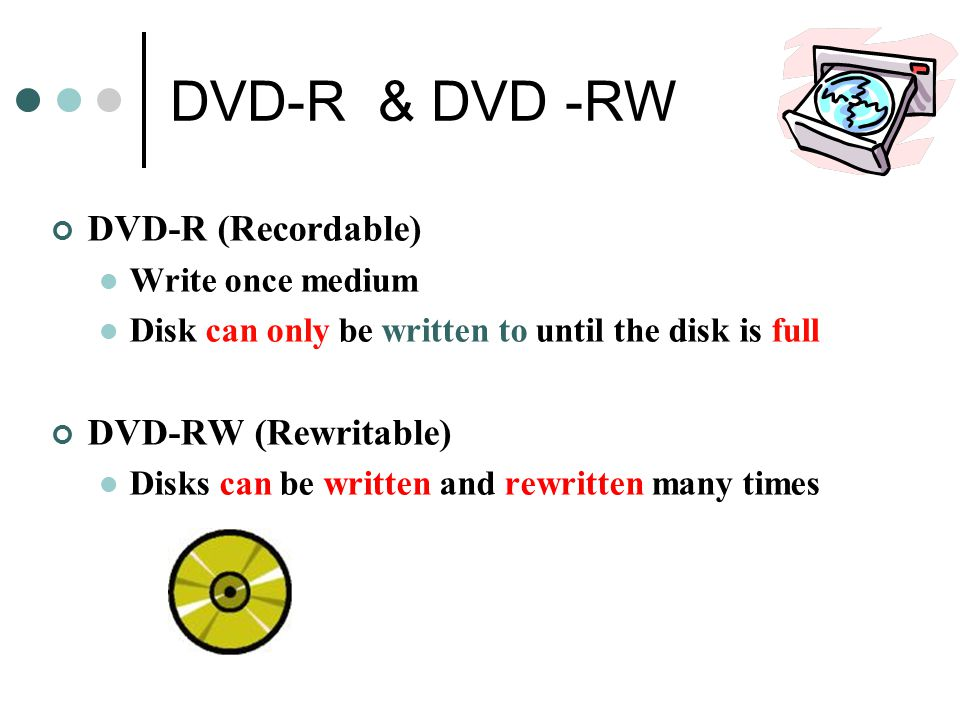DVD-R & DVD -RW DVD-R (Recordable) DVD-RW (Rewritable)