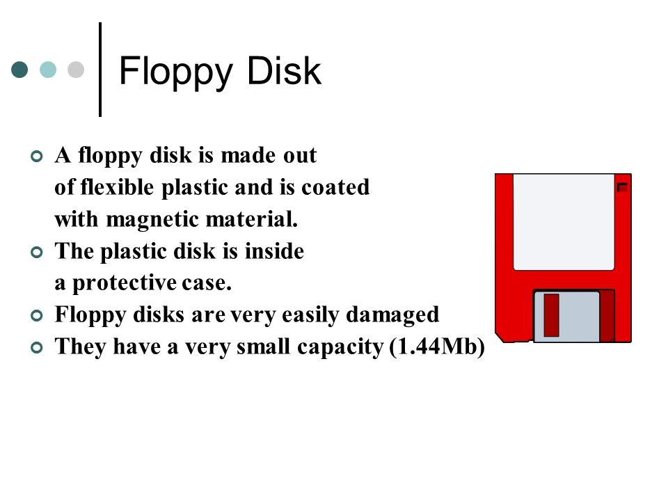 Floppy Disk A floppy disk is made out