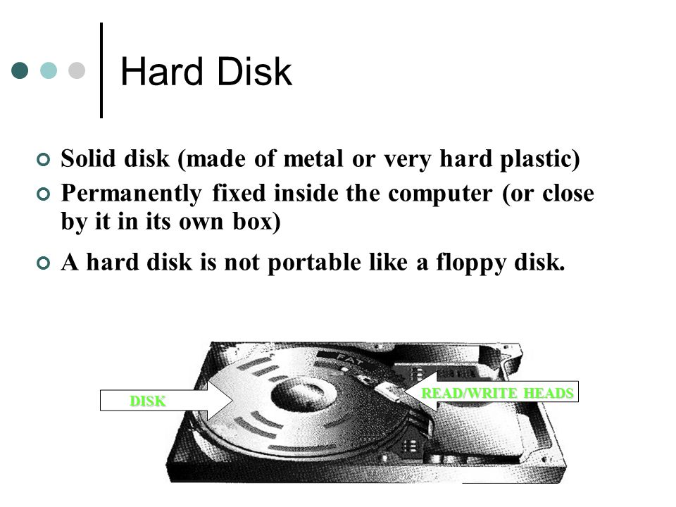 Hard Disk Solid disk (made of metal or very hard plastic)