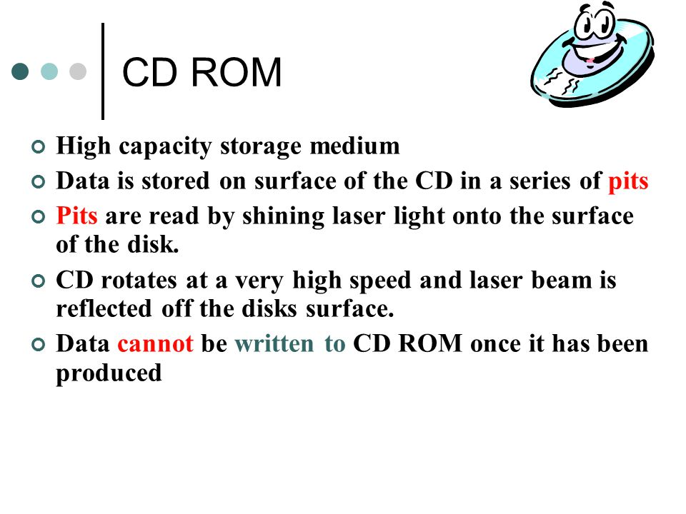 CD ROM High capacity storage medium