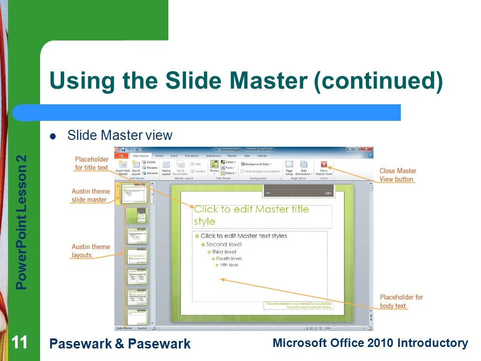 Using the Slide Master (continued)