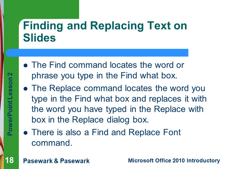 Finding and Replacing Text on Slides