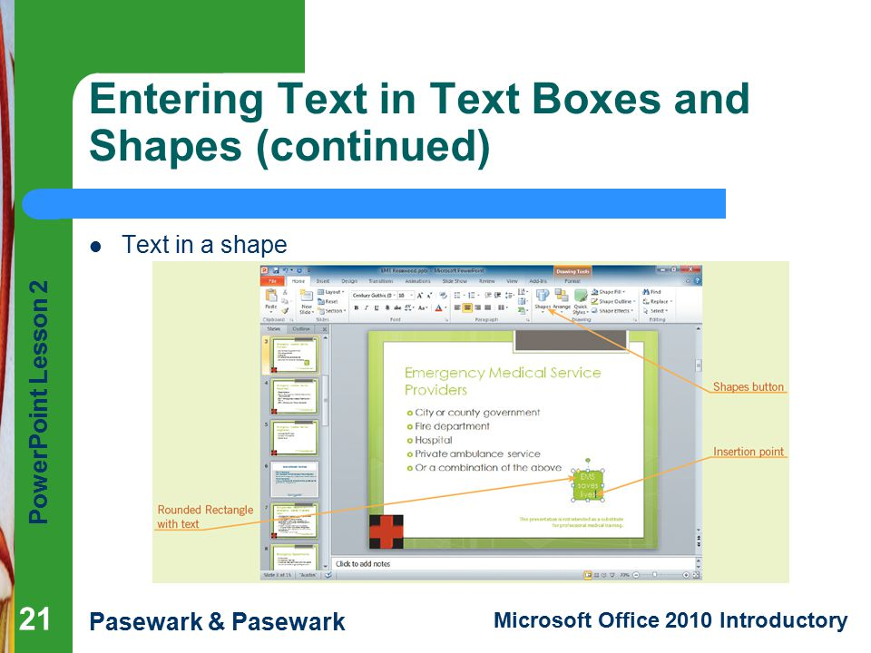 Entering Text in Text Boxes and Shapes (continued)