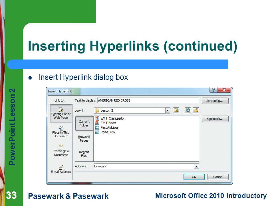 Inserting Hyperlinks (continued)