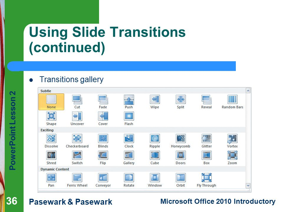 Using Slide Transitions (continued)