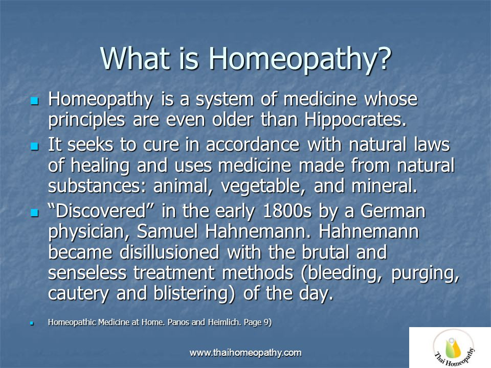 "Homeopathic Medicine ""Let likes be cured by likes"" Bangkok"