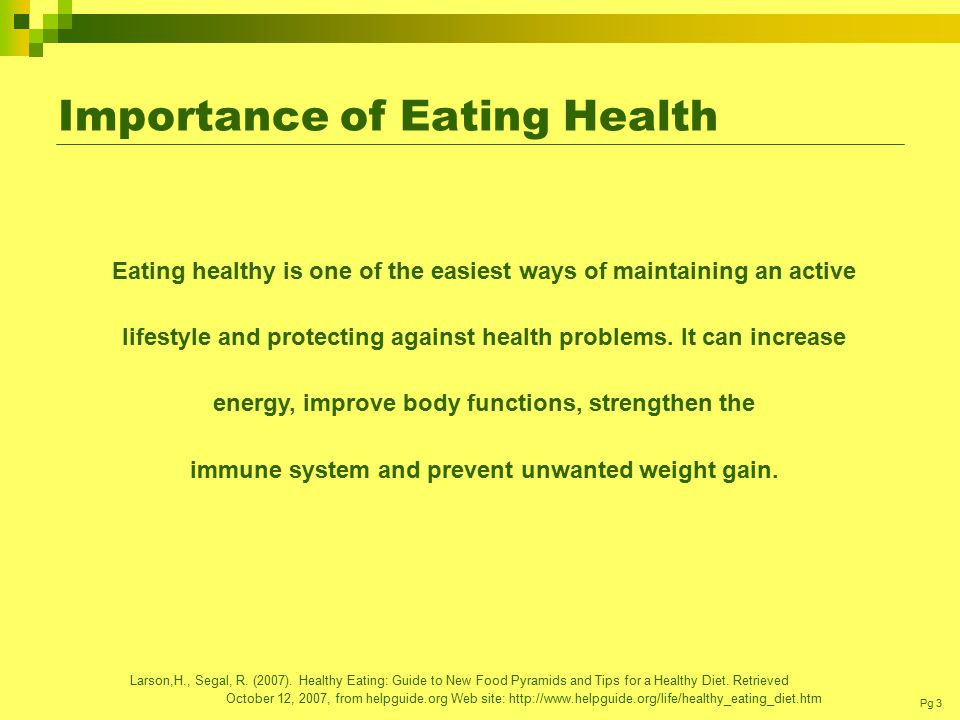 the importance of eating healthy