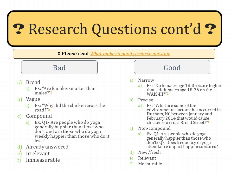 good versus bad research questions