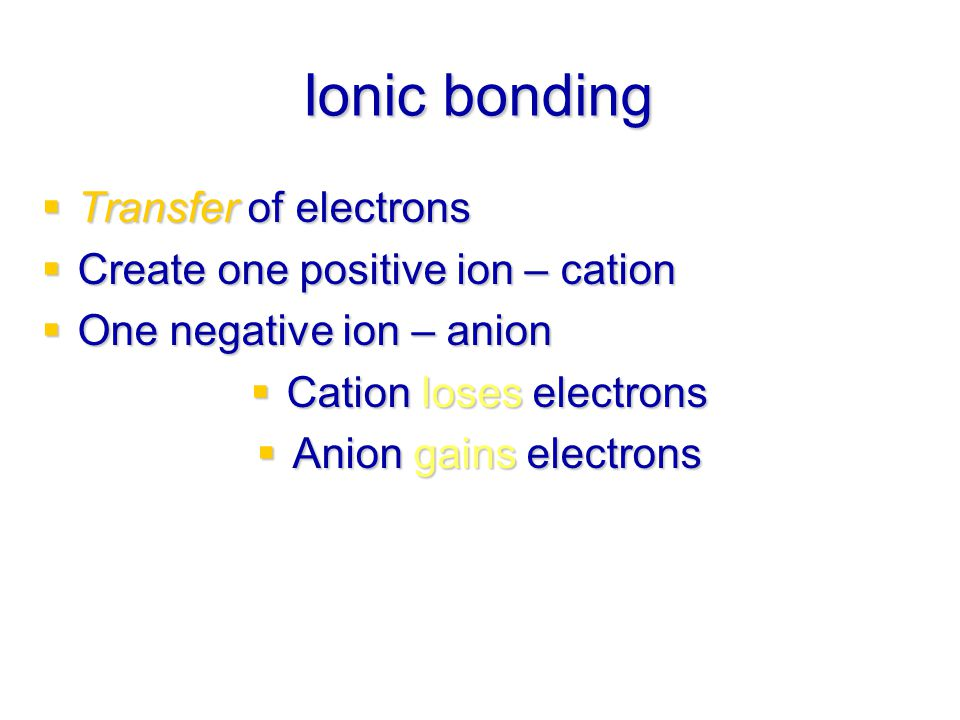 Cation loses electrons