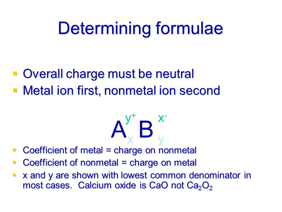 A B Determining formulae Overall charge must be neutral