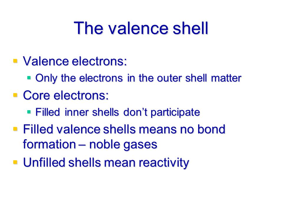 The valence shell Valence electrons: Core electrons: