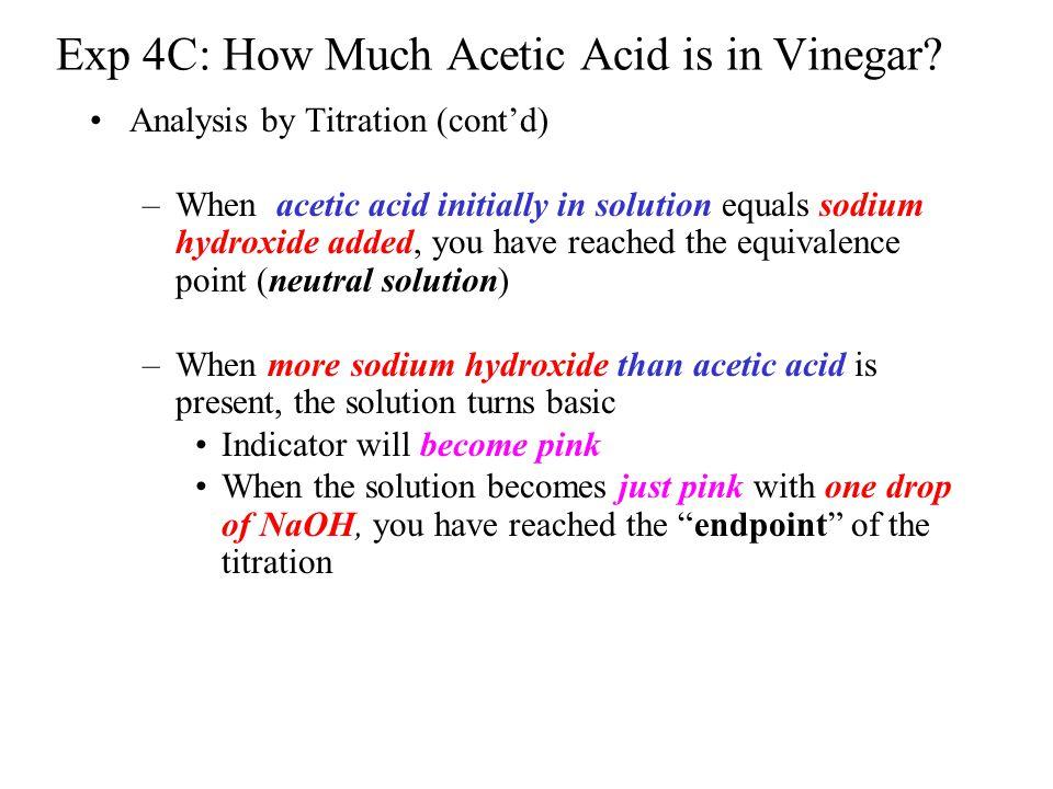 percentage of acetic acid in vinegar lab