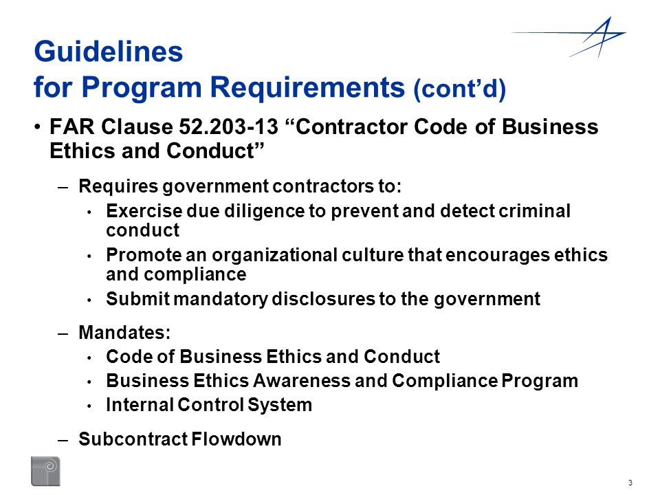 Guidelines for Program Requirements (cont'd)