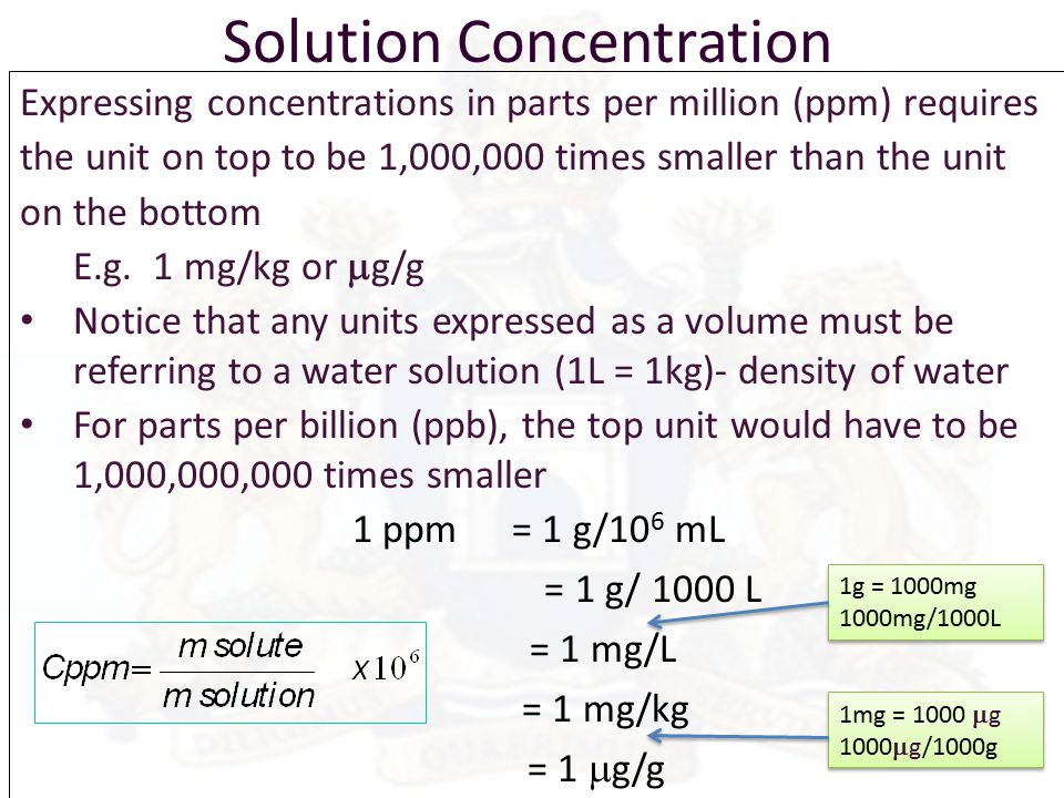 7 Solution Concentration Expressing Concentrations In Parts Per Million: Parts Per Million Worksheet At Alzheimers-prions.com