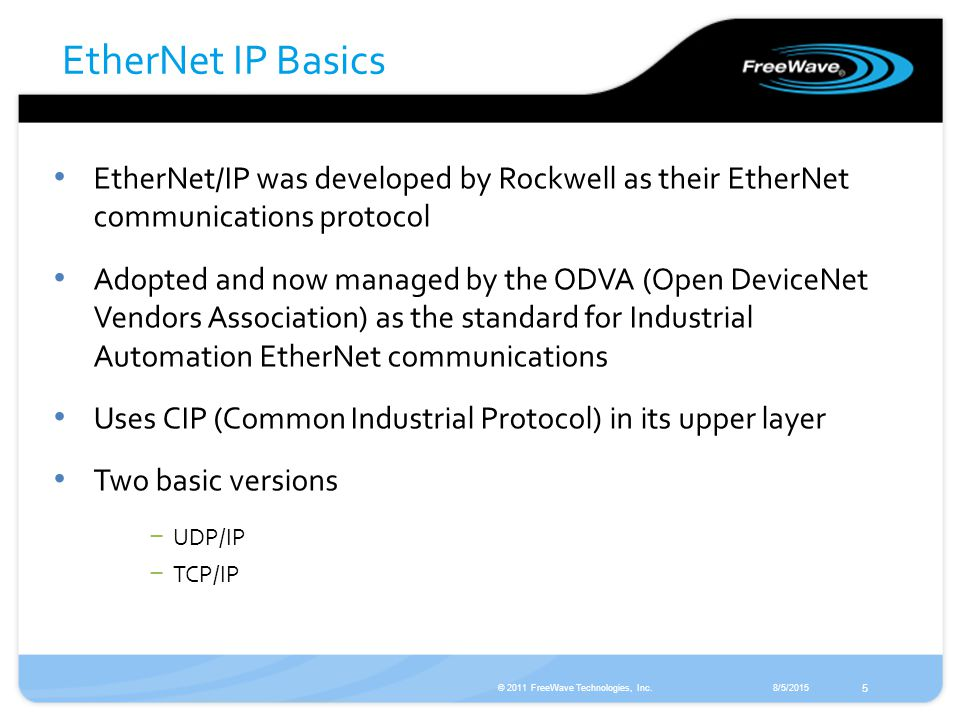 Using FreeWave Wireless with EtherNet I/P for Rockwell Solutions