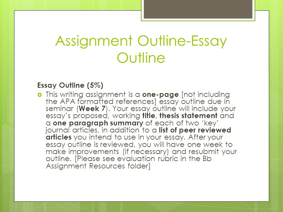 How To Write An Essay Outline  Ppt Video Online Download Assignment Outlineessay Outline Writing Custom Service Files also Apa Sample Essay Paper  Academic Writing Assistance Agency