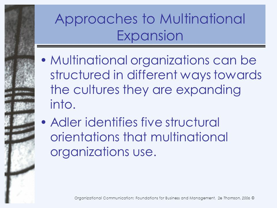 Approaches to Multinational Expansion