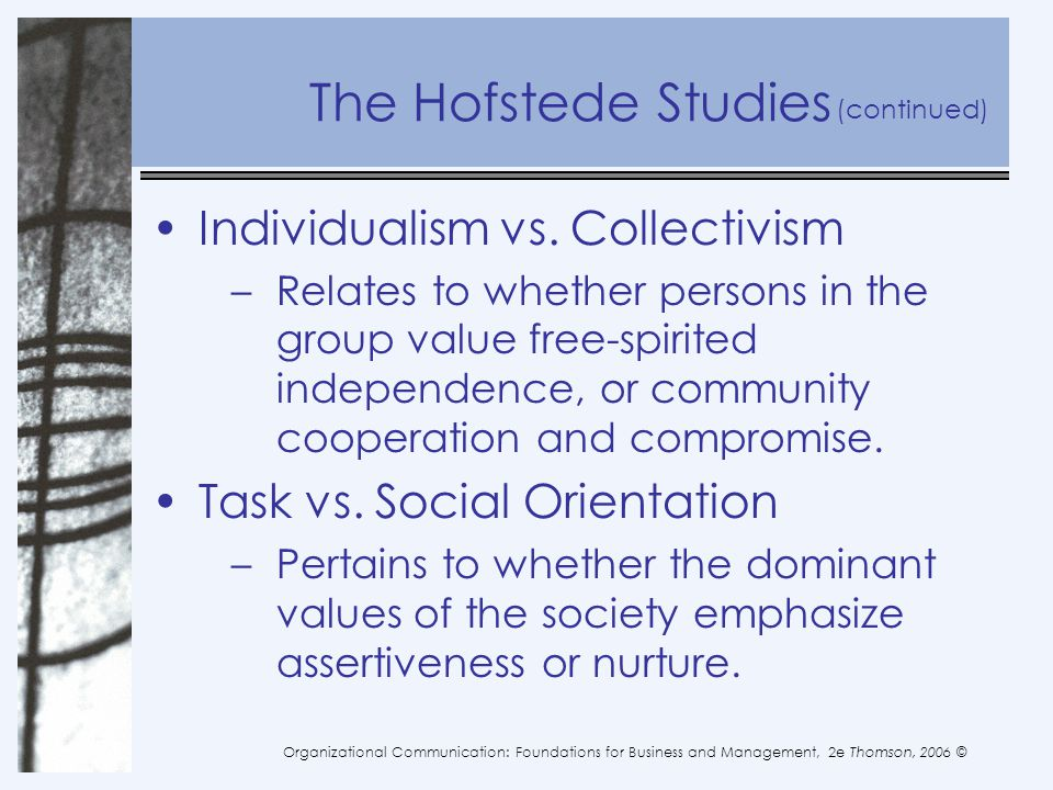 The Hofstede Studies Individualism vs. Collectivism