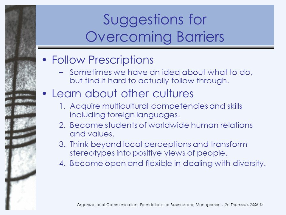 Suggestions for Overcoming Barriers