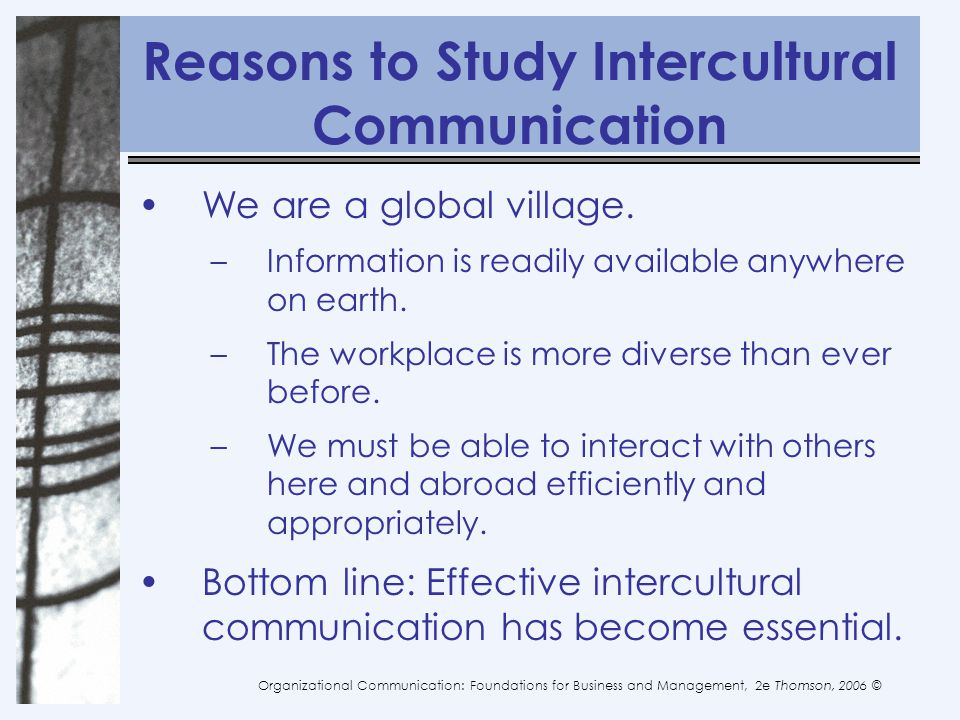 Reasons to Study Intercultural Communication