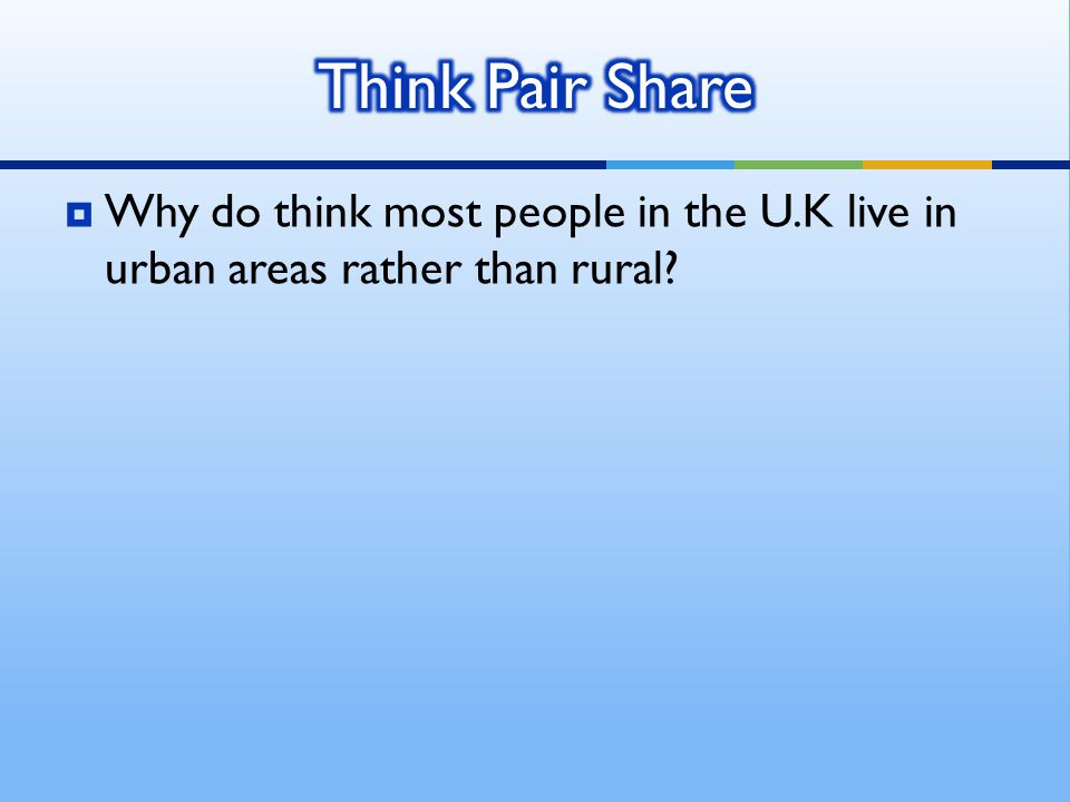 Think Pair Share Why do think most people in the U.K live in urban areas rather than rural