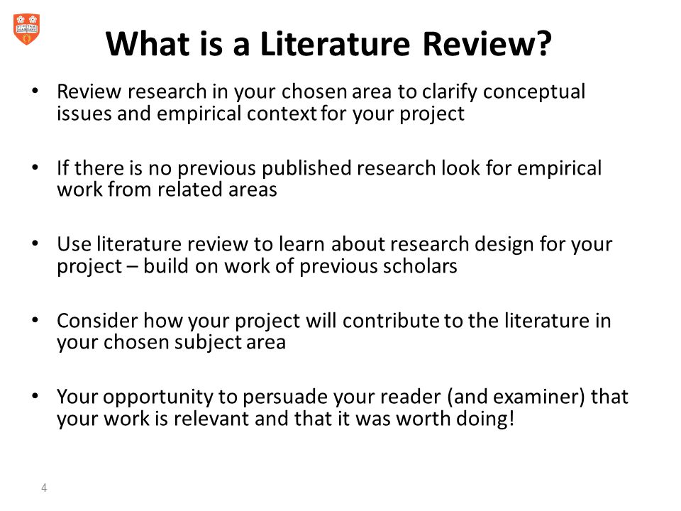 literature review of a project