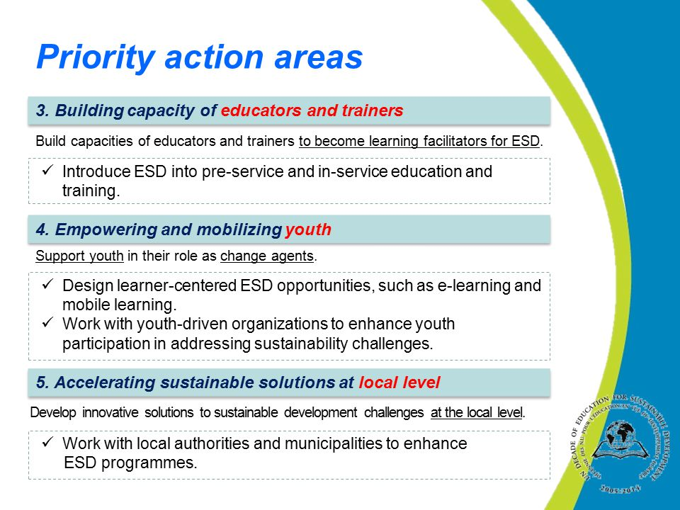 Priority action areas 3. Building capacity of educators and trainers