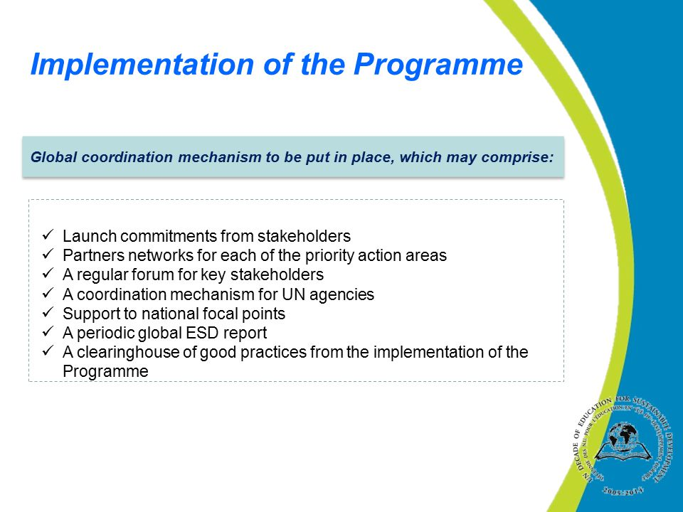 Implementation of the Programme