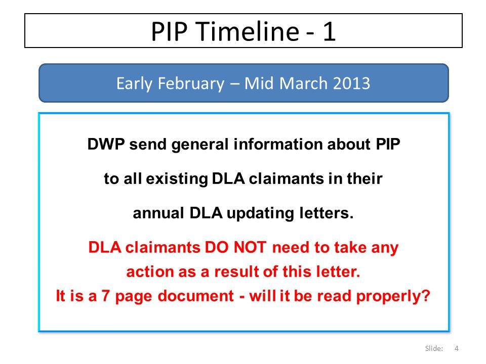 PIP Timeline - 1 Early February – Mid March 2013