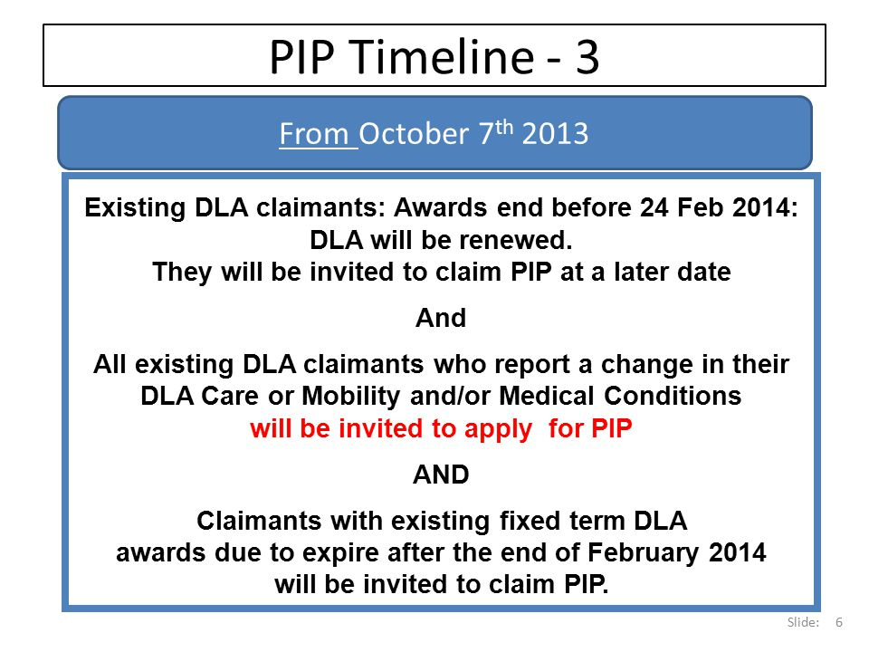 PIP Timeline - 3 From October 7th 2013
