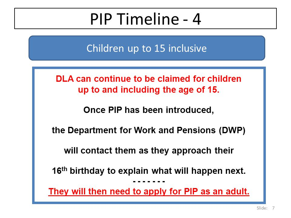 PIP Timeline - 4 Children up to 15 inclusive