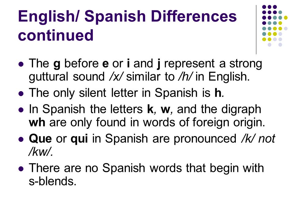 which letter is silent in spanish chapter 2 structure of ppt 25636 | Spanish Differences continued
