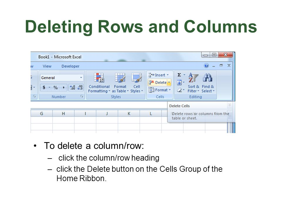 Deleting Rows and Columns