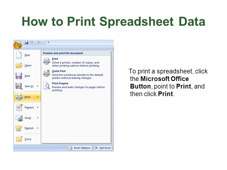 How to Print Spreadsheet Data