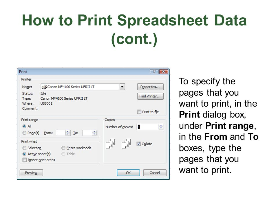 How to Print Spreadsheet Data (cont.)