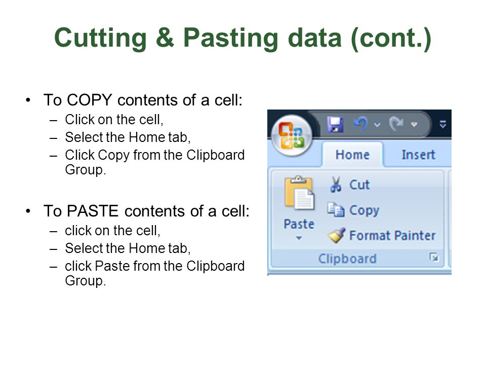 Cutting & Pasting data (cont.)