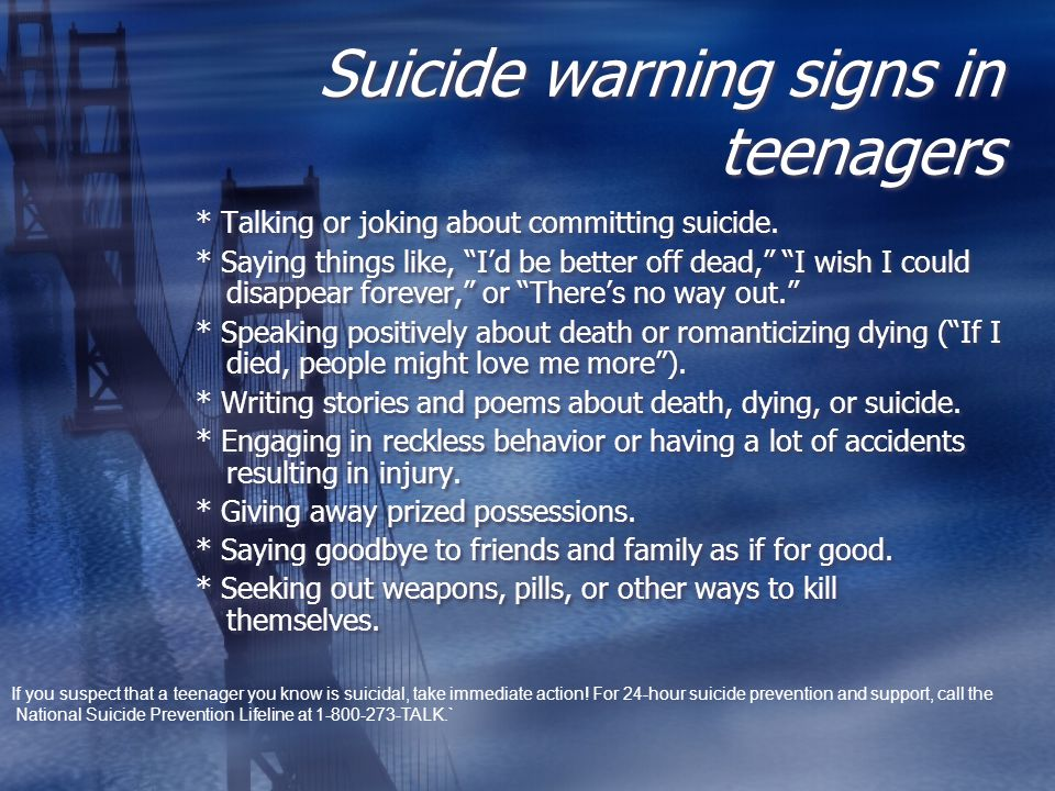 Suicide warning signs in teenagers