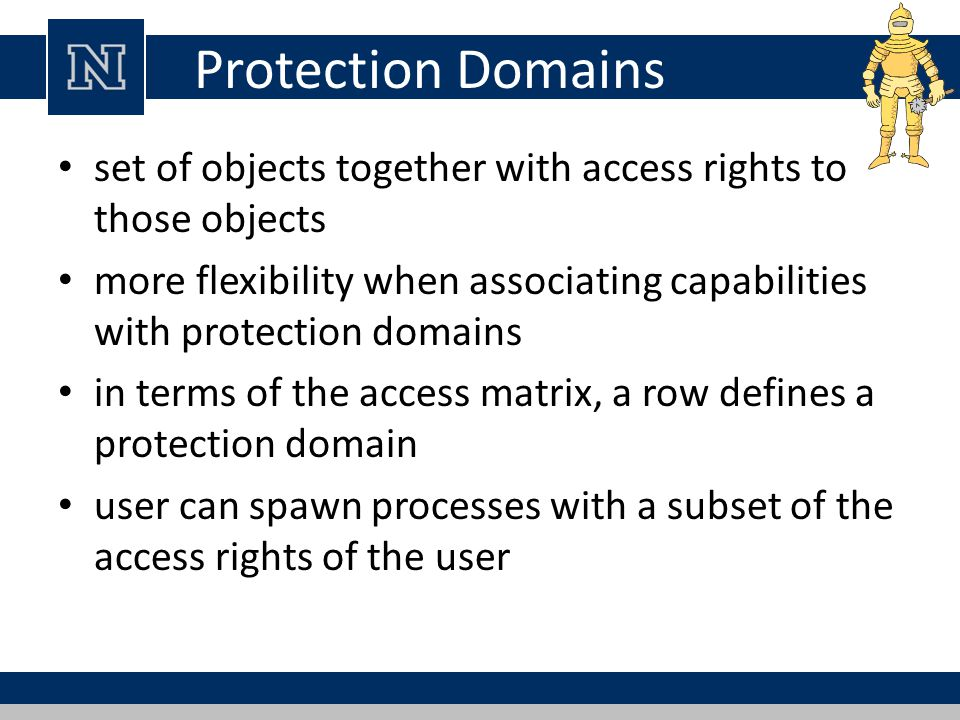 Protection Domains set of objects together with access rights to those objects.