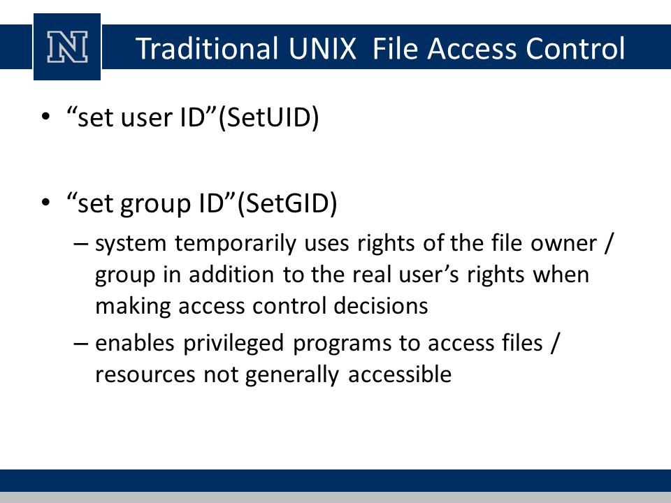 Traditional UNIX File Access Control