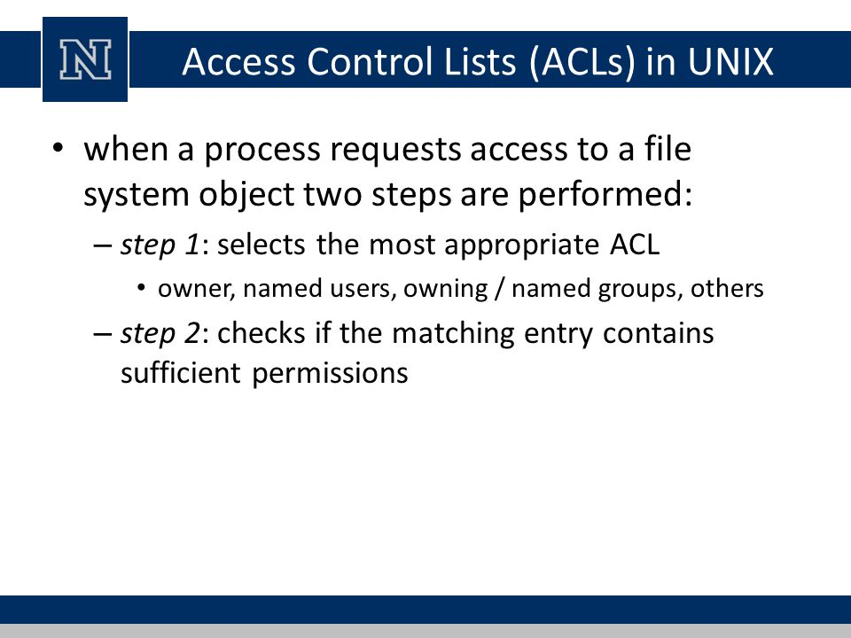 Access Control Lists (ACLs) in UNIX