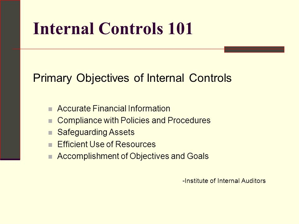 the purpose of internal controls