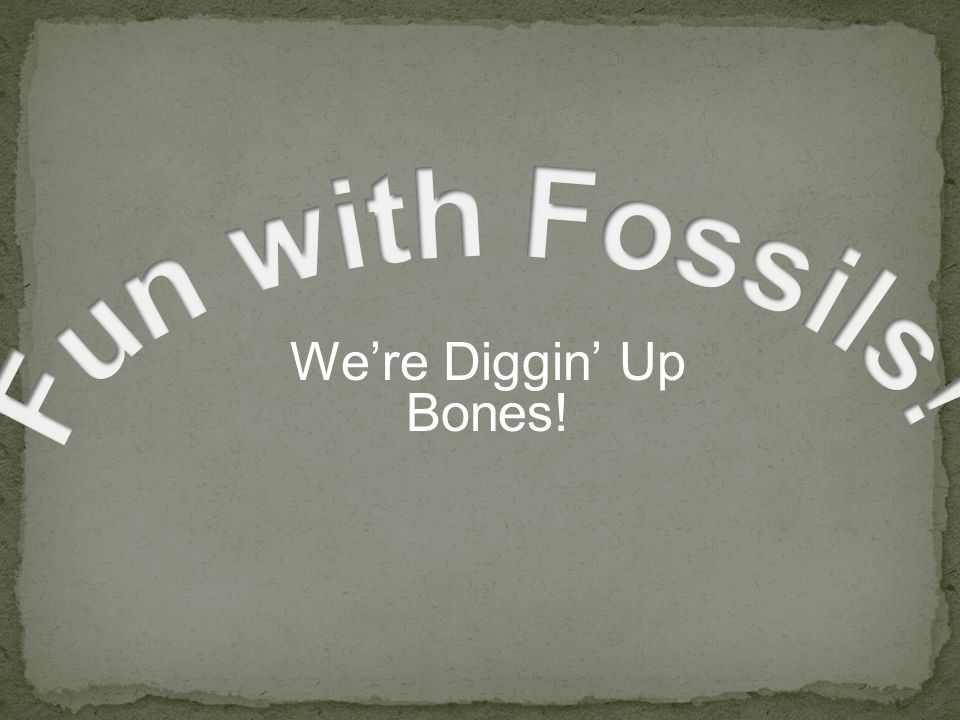Fun with Fossils! We're Diggin' Up Bones! Advance