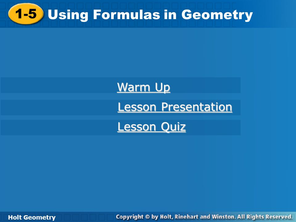Using Formulas in Geometry
