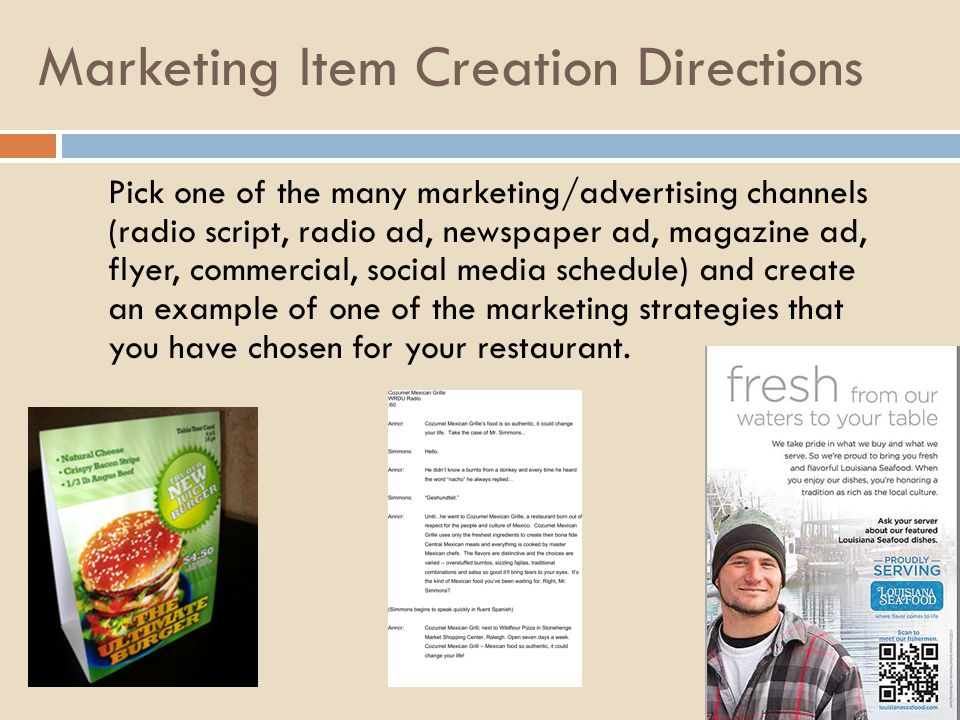 Marketing Item Creation Directions