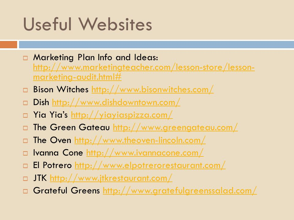 Useful Websites Marketing Plan Info and Ideas:   marketing-audit.html#