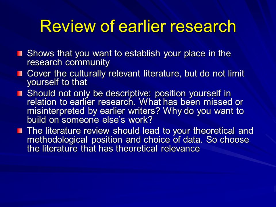 Review of earlier research