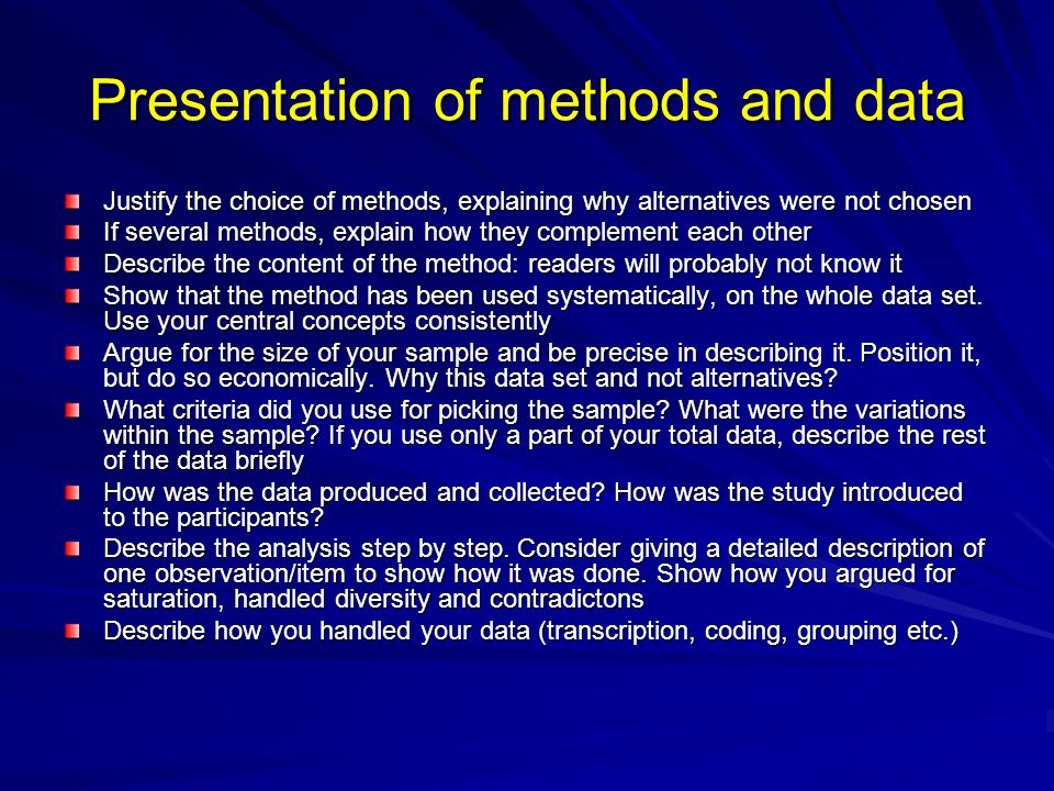 Presentation of methods and data